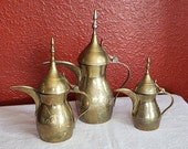 Lot of 3 Antique Brass Etched Turkish Coffee or Tea Pots from India