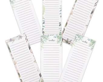 Grocery List Magnet Pad for Fridge, To Do List Notepad, Pack of 6 Writing Pads with Magnetic Back in 3 Modern Floral Paper Designs