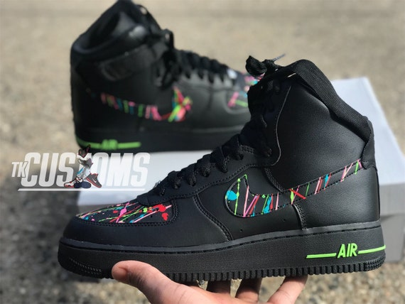 Custom Nike Air Force 1 High Splatter Etsy