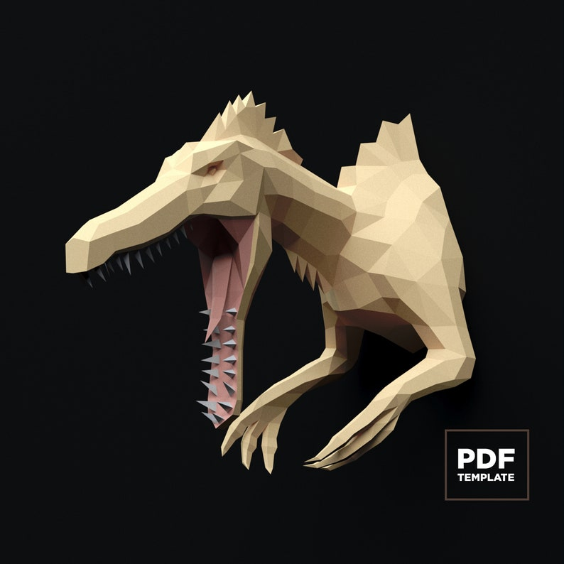 Dinosaur Spinosaurus Papercraft 3D SVG DXF Pdf DIY low poly paper crafts decor model template gift