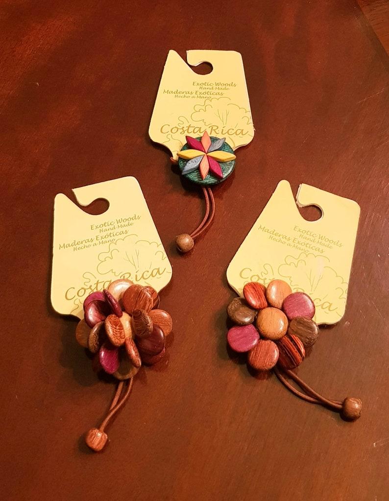 set of 3 Costa Rica Wood handmade hair scrunchies