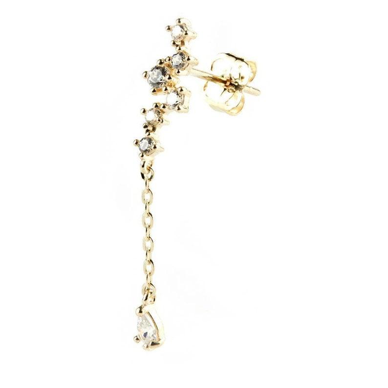 9ct Solid Gold Gem /& Hanging Gem Ear Climber Earrings