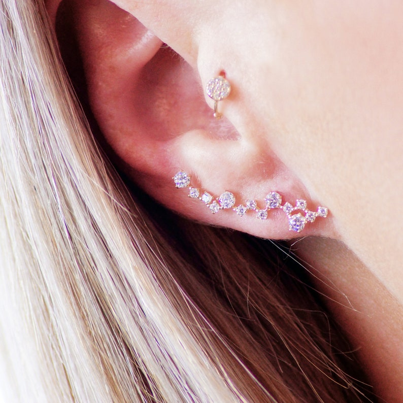 9ct Solid Gold Gem Constellation Ear Climber Earrings