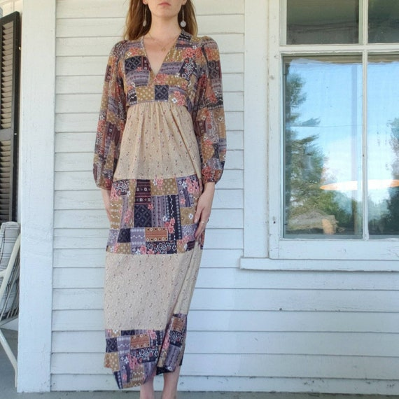 Vintage 70s Handmade Poet Sleeve Maxi Dress Patch… - image 4