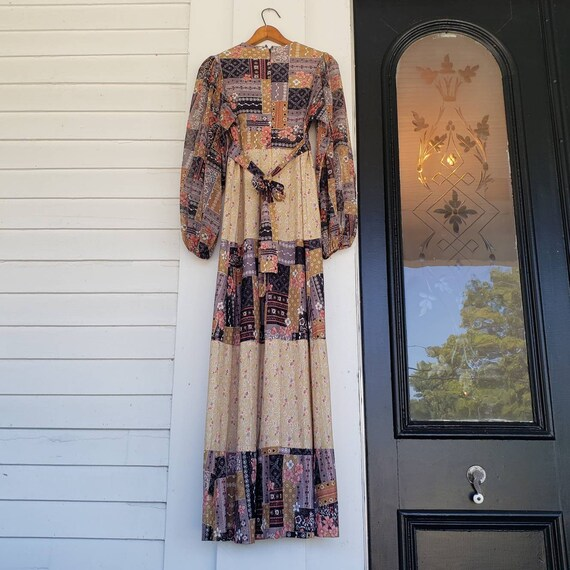 Vintage 70s Handmade Poet Sleeve Maxi Dress Patch… - image 3