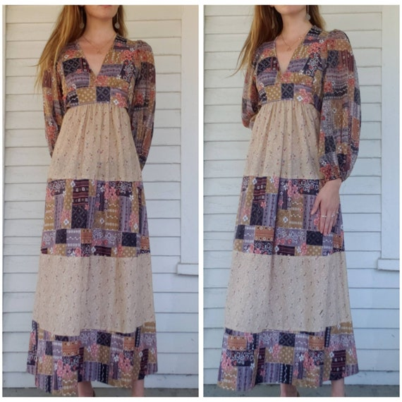 Vintage 70s Handmade Poet Sleeve Maxi Dress Patchw