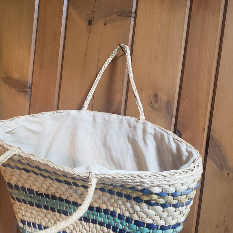 Vintage Straw Woven Tote  70s 80s Fully Lined Market Bag
