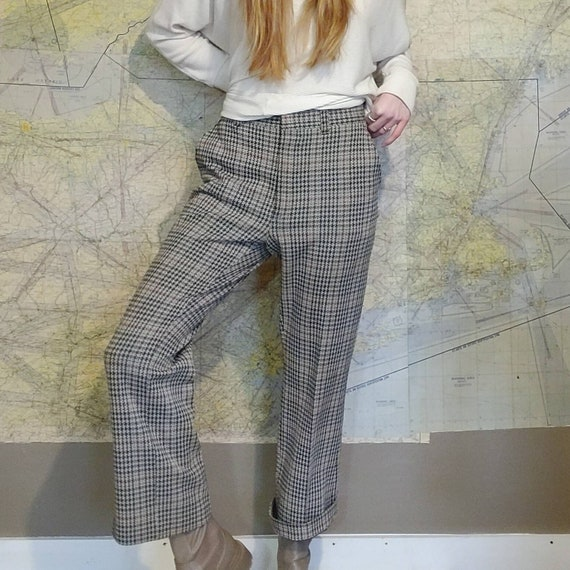 Vintage 70s Houndstooth Knit Trousers // High Wai… - image 3
