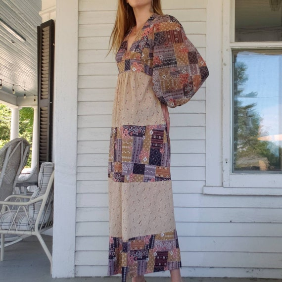 Vintage 70s Handmade Poet Sleeve Maxi Dress Patch… - image 6