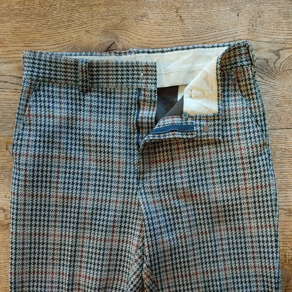 Vintage 70s Houndstooth Knit Trousers // High Wai… - image 4