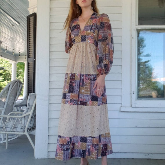 Vintage 70s Handmade Poet Sleeve Maxi Dress Patch… - image 7