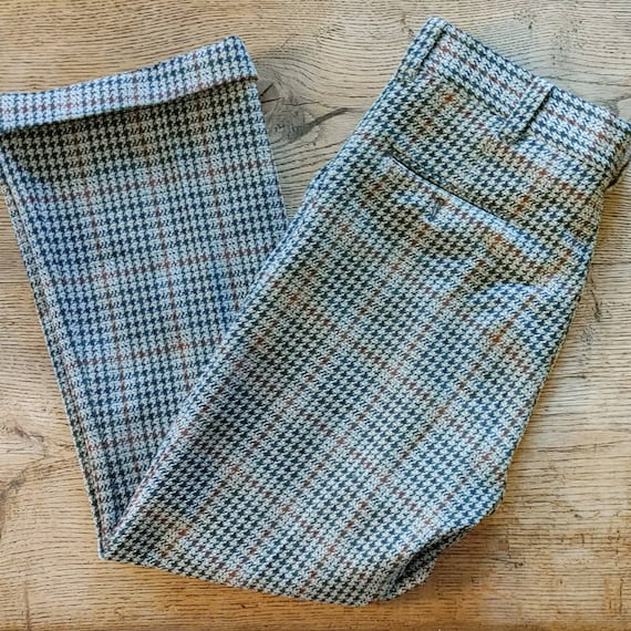 Vintage 70s Houndstooth Knit Trousers // High Wai… - image 7