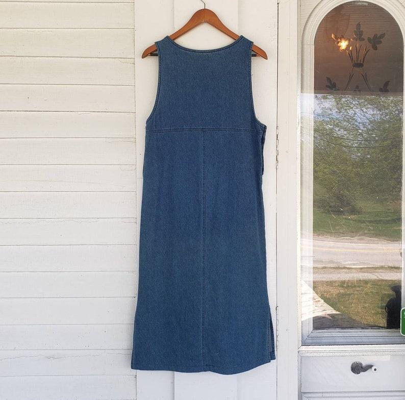 Vintage 80s Denim Jumper  Sleeveless Pullover Jean Dress  Blue J Brand  Womens Small