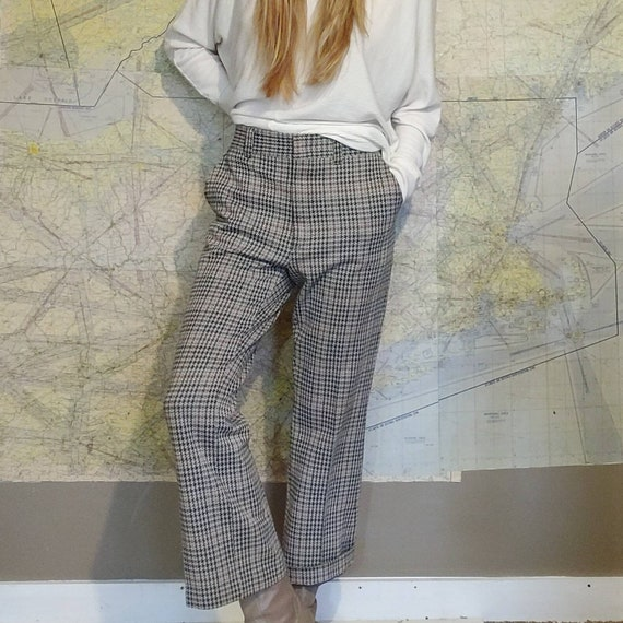 Vintage 70s Houndstooth Knit Trousers // High Wai… - image 1