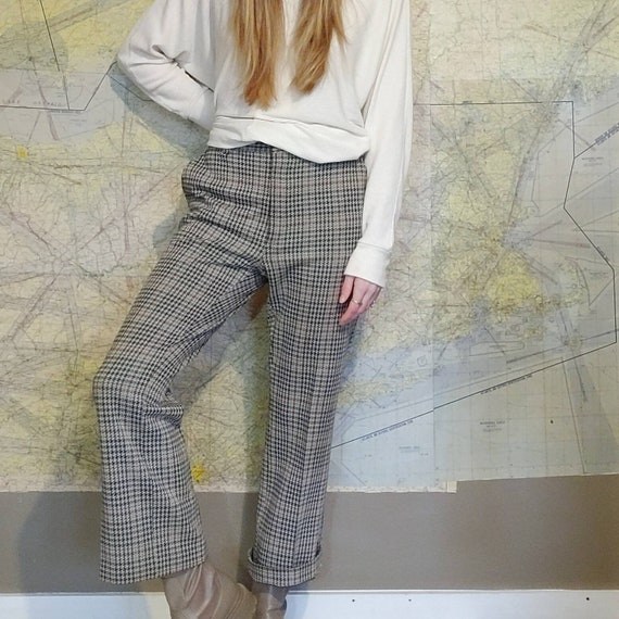 Vintage 70s Houndstooth Knit Trousers // High Wai… - image 8