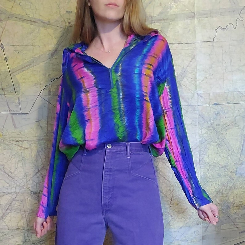 Vintage 60s Psychedelic Tie Dye Long Sleeve Blouse  Carol Henry Colorful Tunic Style Boho Hippie Pullover Zip Shirt