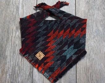 Indigo Blue Batik Ikat Pattern Small Dog Bandana  Scarf  Neckerchief  Neck Tie
