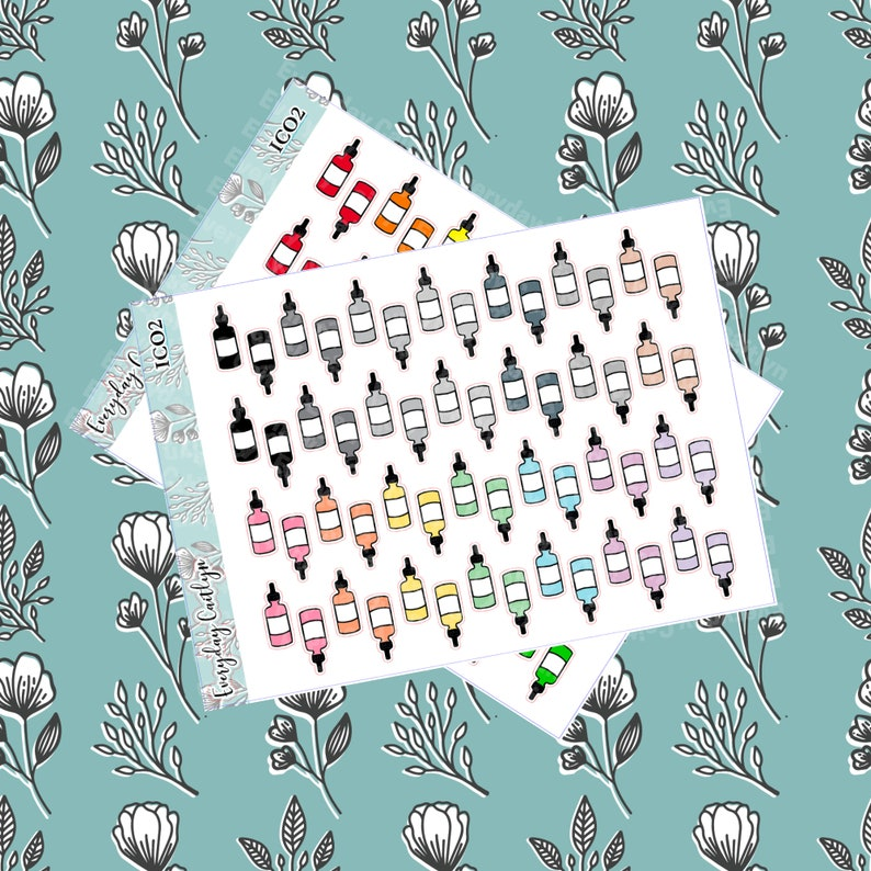 Digital Medicine Dropper Stickers  The Happy Planner Erin image 0