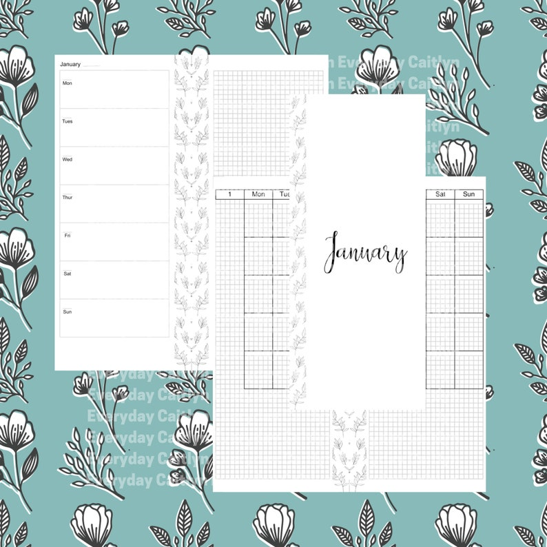 Happynichi Undated Inserts for Happy Planner Half Sheet image 0