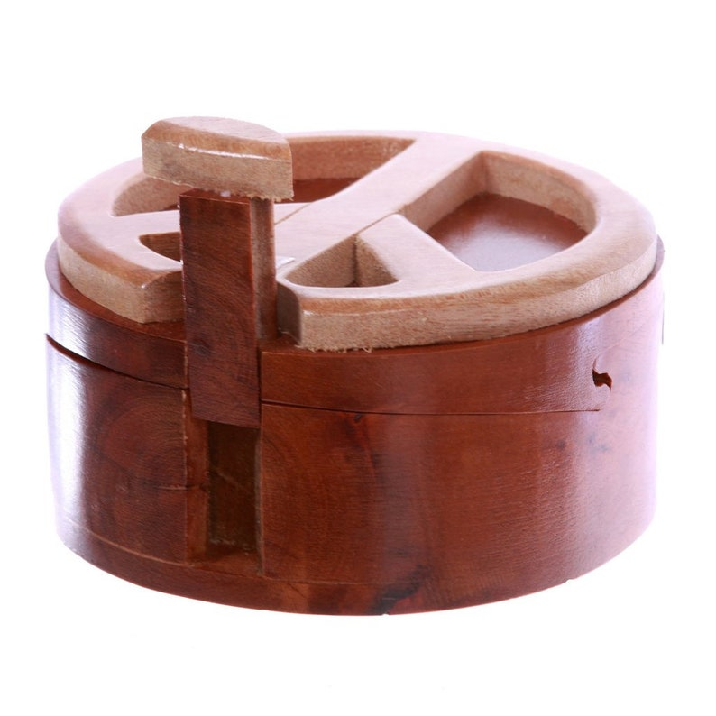 Peace Sign Handcrafted Wooden Round Peace Sign Shape Handmade Secret Jewelry Puzzle Box