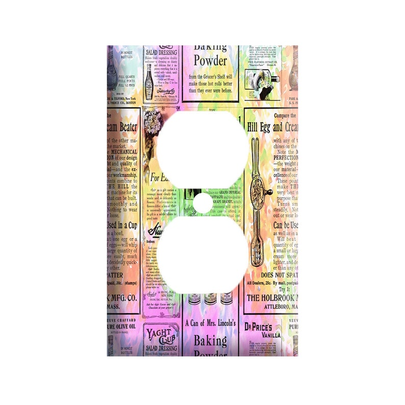 or GFCI Roker colorful newsprint Single Toggle 2 gang Duplex Outlet Decorative Light Switch Cover Plate
