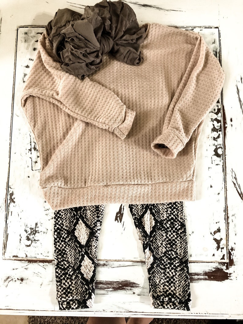 Baby Girl Snakeskin Leggings Head Wrap Bow Taupe Slouchy Sweater Little Girl Headwrap Baby Sweater. Baby Girl Outfit