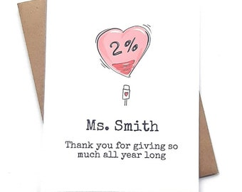 Personalized Teacher Appreciation Card- Virtual learning- thank you card for teacher-