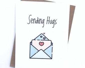 Sending hugs greeting card- thinking of you card- sympathy card- friendship card- miss you card- long distance card- sending hugs