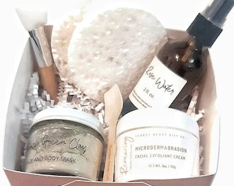 Facial gift set- mother's day gift- facial in a box- at home spa day- home facial- gift for her- facial masks- microdermabrasion  cream