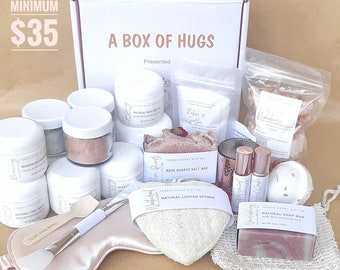 BUILD YOUR OWN gift box- Box of hugs- spa gift box- gift for her- graduation gift- self care box- pamper basket- thinking of you gift