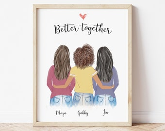 Personalized Wall Art for Best Friends, Sisters gift idea, Customizable print for mom, Mothers day gift idea, Birthday gift for friends, art