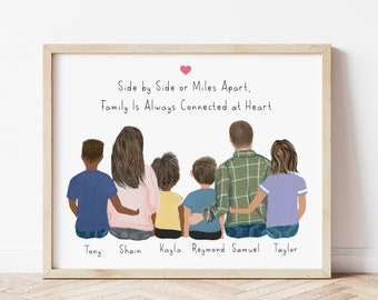 Personalized Family Wall Art with Frame, Family Gift idea, Christmas family gift, Toddlers portrait, Anniversary family print, Birthday gift