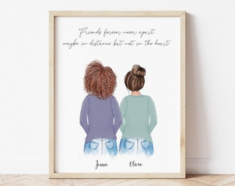 Personalized Wall Art Friends, Customizable Print Art for Sisters, Mother days gift from daughter, Birthday gift idea, Cousins illustration