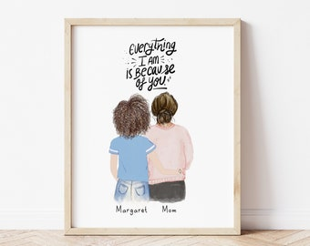 Personalized Wall Art for Mother and daughter, Mom gift from daughter, customizable Birthday gif, gift for mom, Mothers day gift idea, mum