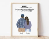 Personalized Wall Art Dad and Daughter, Christmas gift for dad, Dad gift from daughter, Dad Birthday gift, Family print, fathers day artwork