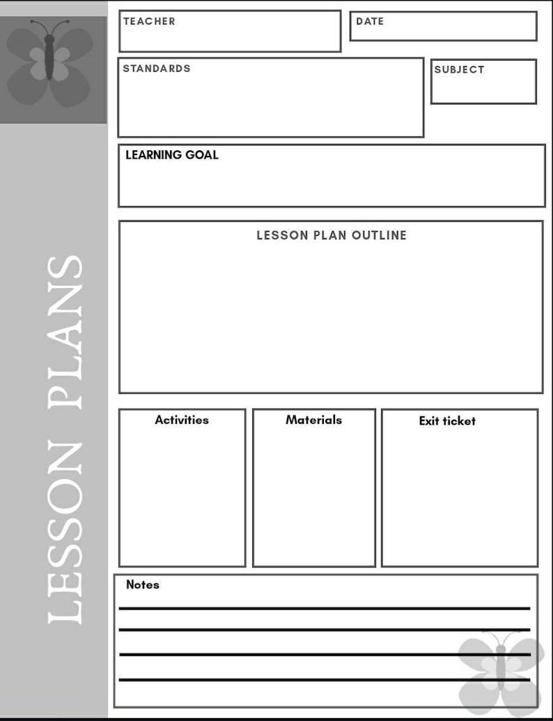 Lesson Plan Template EDITABLE Etsy