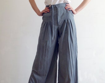 a358fe661f Women Pleated Wide Leg Maxi Pants Cotton Linen Loose High Waisted Flare  Trousers with Belt Fringe Lace Palazzo Side Split Pants Spring Fall