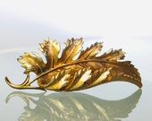 Vintage Pegasus Coro Brooch Gold Dipped Leaf Brooch Vintage Signed Coro Gold-Tone Large Curled Leaf Pin Brooch Feather Vintage brooch
