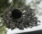 Antique Silver Black Onyx Lotus Flower Brooch Large Sterling Silver Collar Pin 952 Sterling Scarf Pin BroachHat Pins Brooch,Shawl pin silver