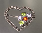925 Vintage Chartreuse Marcasite Sterling Silver Brooch Antique Polished Multi-Stone Sterling Brooch Small SilverCrystal Heart Pin Brooch