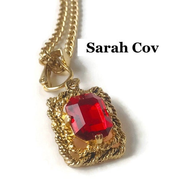 """Gold Red Ruby Sarah Coventry Necklace,Vintage """"Ma… - image 2"""