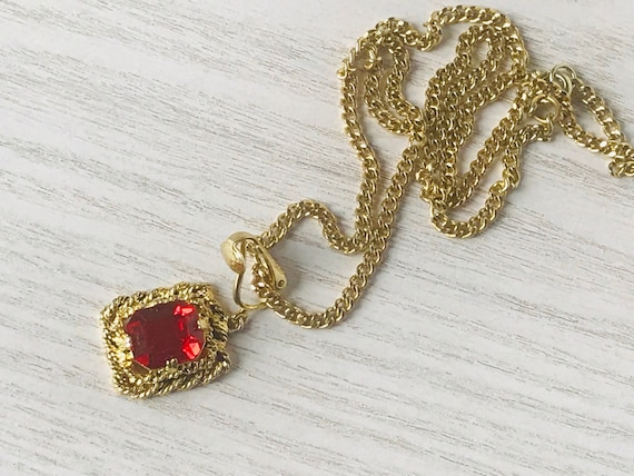 """Gold Red Ruby Sarah Coventry Necklace,Vintage """"Ma… - image 7"""