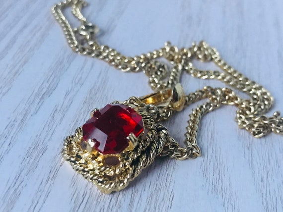 """Gold Red Ruby Sarah Coventry Necklace,Vintage """"Ma… - image 10"""