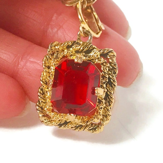 """Gold Red Ruby Sarah Coventry Necklace,Vintage """"Ma… - image 4"""