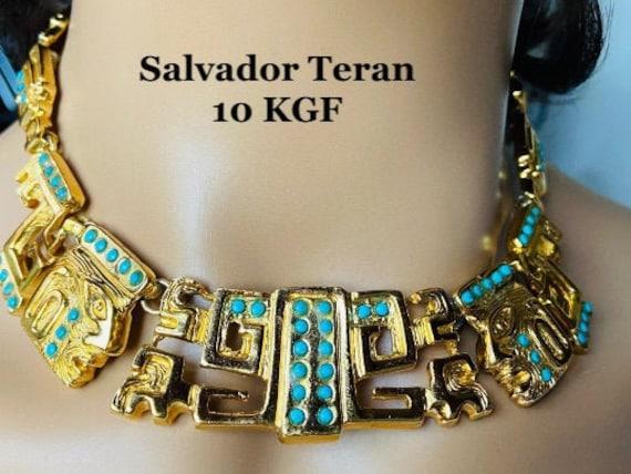 Salvador Terán Marble Gold Plated Choker, Chunky 1