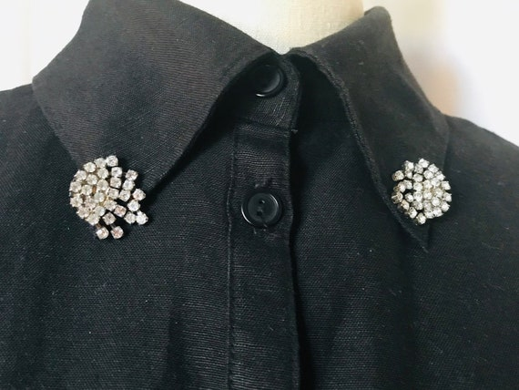 Set of 2 Cluster Rhinestones Collar Clips,Silver C