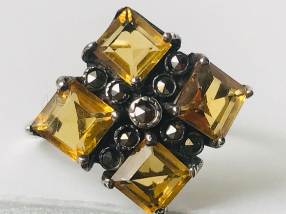Cluster Citrine Marcasite Sterling Silver Ring, Ci