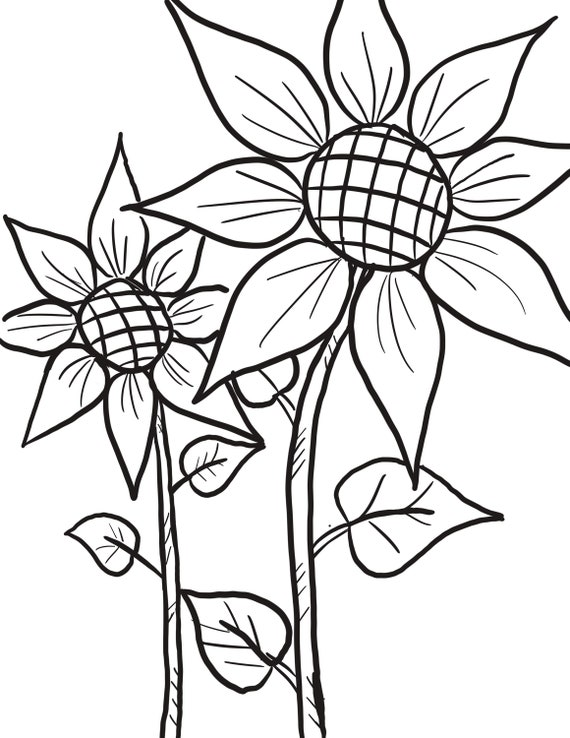 Double sunflower coloring page