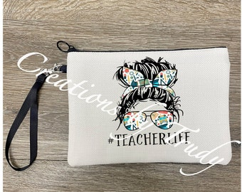 Hashtag FEARLESS Design on Canvas Zippered Pouch with Tassel