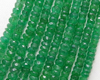 Beautiful Beryl Emerald Faceted Rondelles 4.50 mm 8 inch Long
